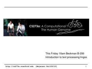 This Friday 10am Beckman B-200 Introduction to text processing lingos.