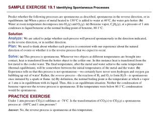 SAMPLE EXERCISE 19.1  Identifying Spontaneous Processes