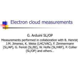 Electron cloud measurements