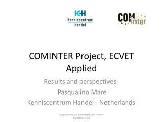 COMINTER Project, ECVET Applied