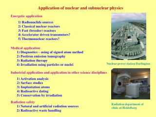 Application of nuclear and subnuclear physics