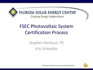 FSEC Photovoltaic System Certification Process