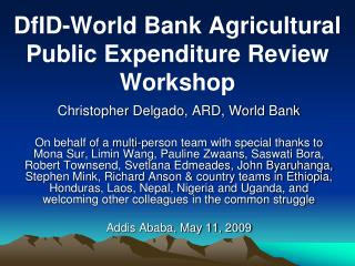DfID-World Bank Agricultural Public Expenditure Review Workshop