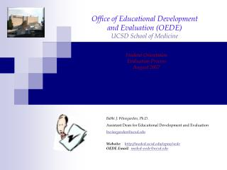 Office of Educational Development  and Evaluation (OEDE) UCSD School of Medicine