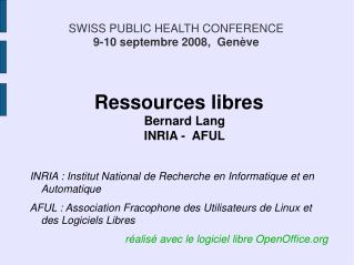 SWISS PUBLIC HEALTH CONFERENCE 9-10 septembre 2008,  Genève