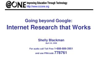 Going beyond Google: Internet Research that Works