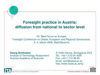 Foresight practice in Austria: diffusion from national to sector level