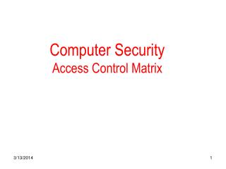 Computer Security Access Control Matrix