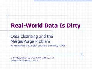 Real-World Data Is Dirty