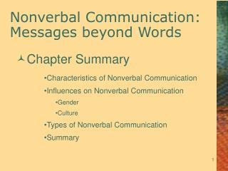 Nonverbal Communication: Messages beyond Words
