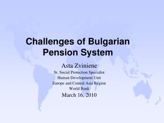 Challenges of Bulgarian Pension System