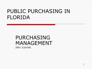PUBLIC PURCHASING IN FLORIDA