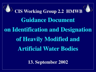 CIS Working Group 2.2 HMWB Guidance Document on Identification and Designation