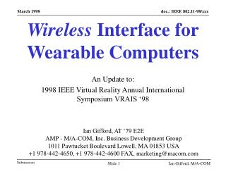 Wireless Interface for Wearable Computers