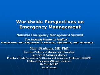 National Emergency Management Summit