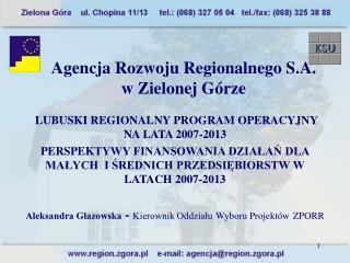 Agencja Rozwoju Regionalnego S.A.  w Zielonej Górze