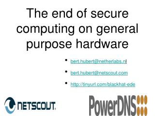 The end of secure computing on general purpose hardware