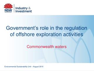 Government's role in the regulation of offshore exploration activities