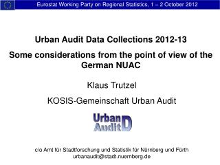 Eurostat Working Party on Regional Statistics, 1 – 2 October 2012