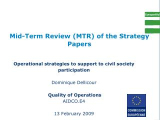 Mid-Term Review (MTR) of the Strategy Papers