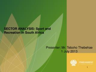 SECTOR ANALYSIS: Sport and Recreation in South Africa