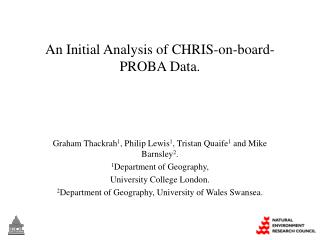 An Initial Analysis of CHRIS-on-board-PROBA Data.
