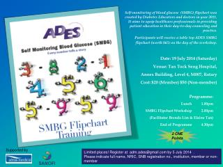 Programme: Lunch          1.00pm 	SMBG Flipchart Workshop          2.00pm