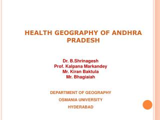 HEALTH GEOGRAPHY OF ANDHRA PRADESH