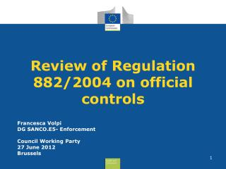 Review of Regulation 882/2004 on official controls