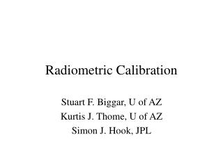 Radiometric Calibration