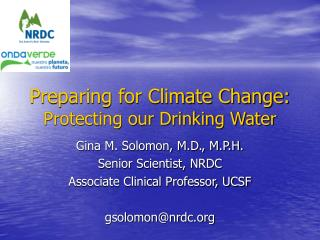 Preparing for Climate Change: Protecting our Drinking Water