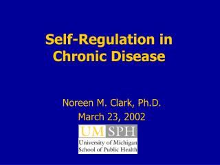 Self-Regulation in  Chronic Disease