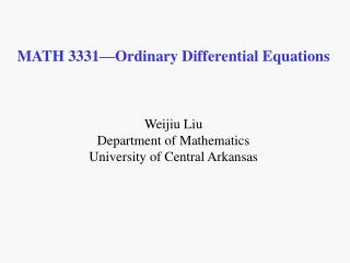 MATH 3331 Ordinary Differential Equations