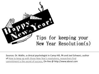 Tips for keeping your New Year Resolution(s)