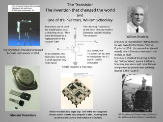 The Transistor The invention that changed the world and One of It's Inventors, William Schockley