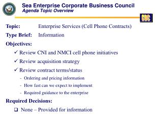Sea Enterprise Corporate Business Council Agenda Topic Overview