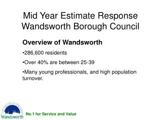 Mid Year Estimate Response Wandsworth Borough Council
