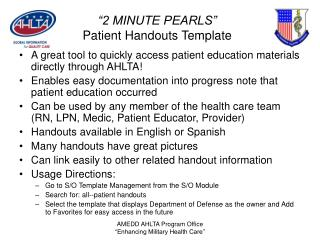 """2 MINUTE PEARLS"" Patient Handouts Template"