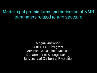 Modeling of protein turns and derivation of NMR parameters related to turn structure