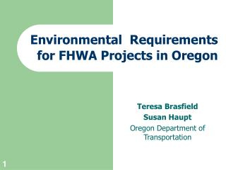 Environmental  Requirements for FHWA Projects in Oregon