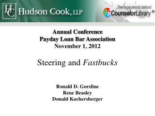 Annual Conference Payday Loan Bar Association November 1 ,  2012