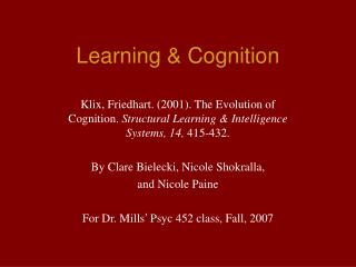 Learning & Cognition