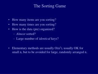 The Sorting Game