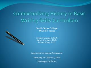Contextualizing History in Basic Writing Skills Curriculum