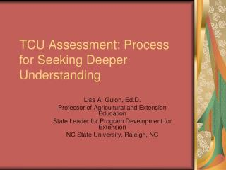 TCU Assessment: Process for Seeking Deeper Understanding