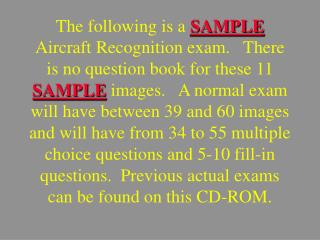 WELCOME TO  THE AIRCRAFT  RECOGNITION  TEST!
