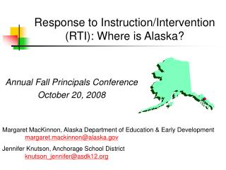 Response to Instruction/Intervention  (RTI): Where is Alaska?