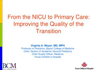 From the NICU to Primary Care: Improving the Quality of the Transition