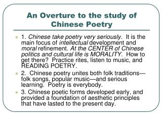 An Overture to the study of Chinese Poetry