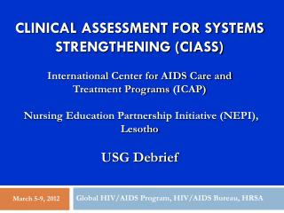 Global HIV/AIDS Program, HIV/AIDS Bureau, HRSA